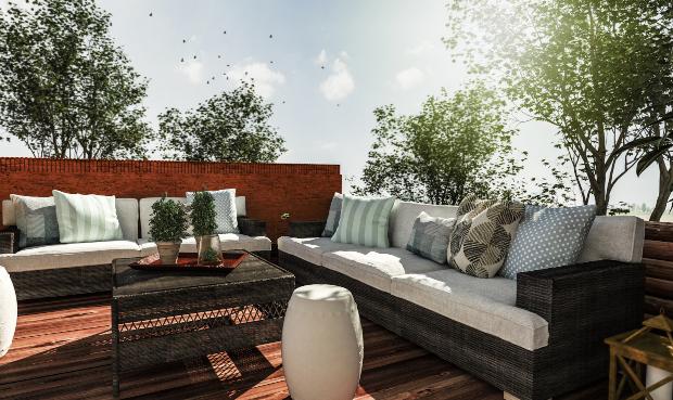 Holzterrasse mit diversen Terrassenmöbeln