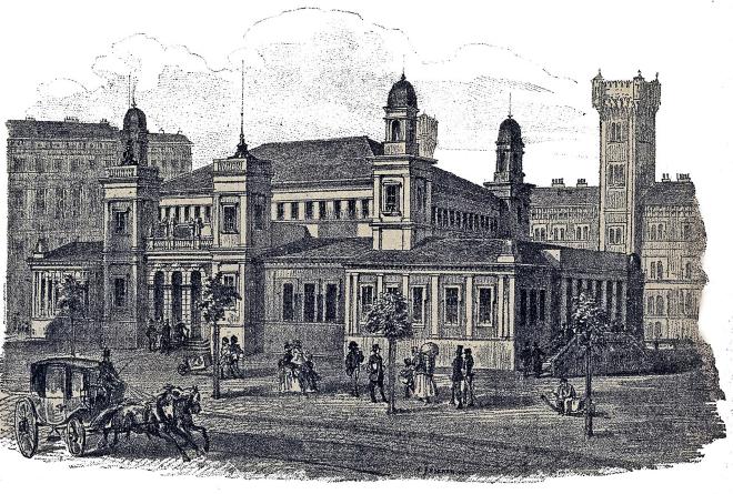 Provisorische Börse, Schottenring 19; genutzt 1872–1877; Ort des Schwarzen Freitags, 9. Mai 1873