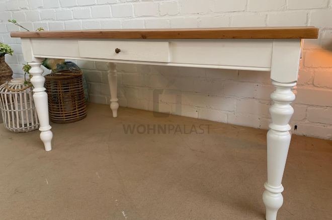 Gründerzeit Esstisch Weißenburg aus Weichholz - antikbraun / weiß gewachst 160 cm - Einrichten mit Gründerzeitmöbeln