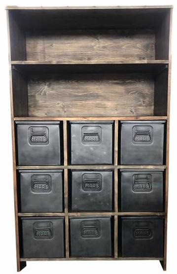 Regal Schrank Industrial mit Metall Schubladen Schrank-Regal-Kombination