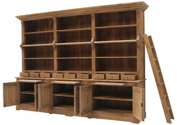 Bücherwand Heine Teakholz 320 cm Massivholz Regal Bibliothek Bücherschrank