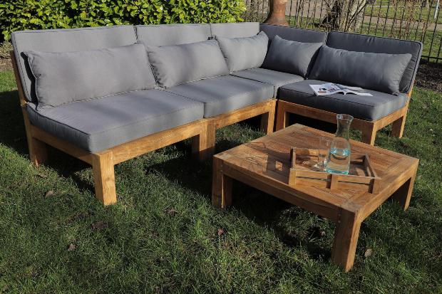 Gartenmöbel Lounge Set Palma 5-teilig Teakmöbel Outdoor Möbel Set Teakholz Terrassenlounge im Landhausstil