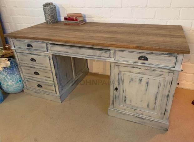 Schreibtisch Teakholz shabby grau/teak