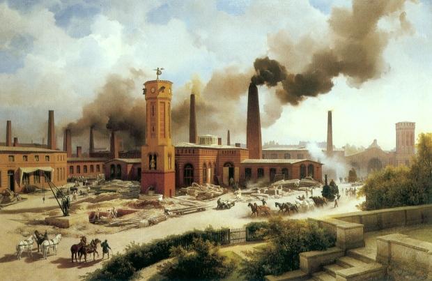 Borsigs Maschinenbau-Anstalt zu Berlin, Gemälde von Karl Biermann, 1847