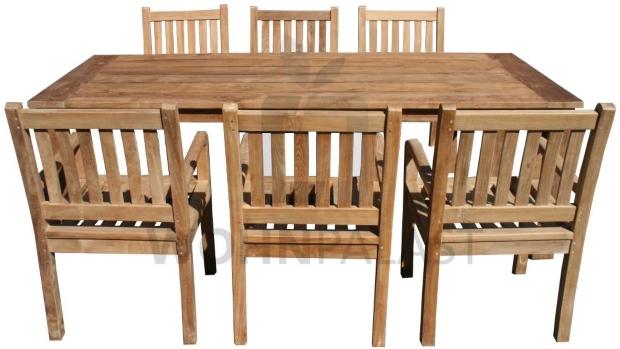 7-teiliges Teakholz Gartenmöbel Set Norderney 220 cm Garten Outdoor Teak Möbel Tisch & Stühle