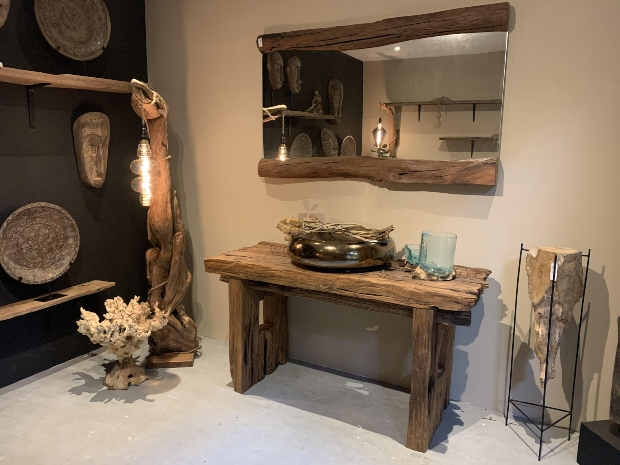 Wandtisch Paris - altes Teakholz 150cm - Einzelstück - Holzarten kombinieren