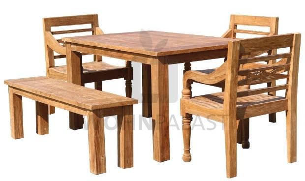 5-teiliges Teakholz Gartenmöbel Set Westfalen Teakmöbel Outdoor - Holz im Garten
