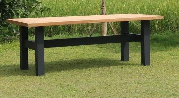 Gartentisch Rina schwarz aus Teakholz 220 cm