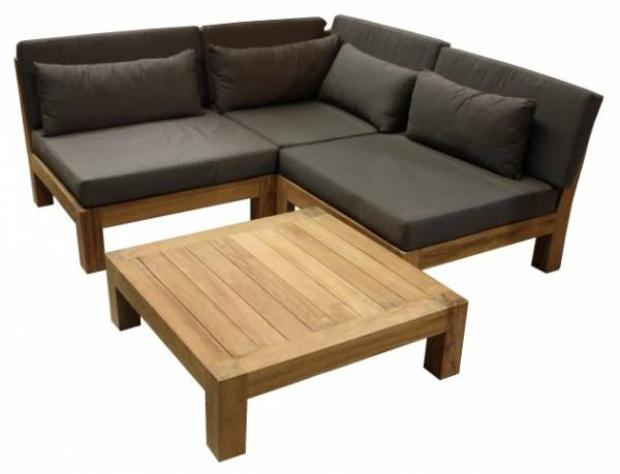 Lounge Garten Ecksofa Palma aus massivem Teakholz mit Auflage (beliebig erweiterbar)