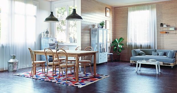 Inneneinrichtung aus Industrial Elementen (Lampen) und Landhaus (Tisch mit Stühlen)