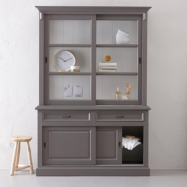 buffet schrank landhaus massivholz vitrine vitrinenschrank. Black Bedroom Furniture Sets. Home Design Ideas