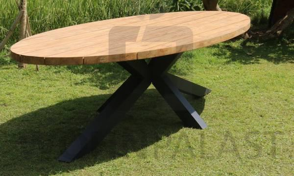 Gartentisch Oval gebürstet aus Teakholz