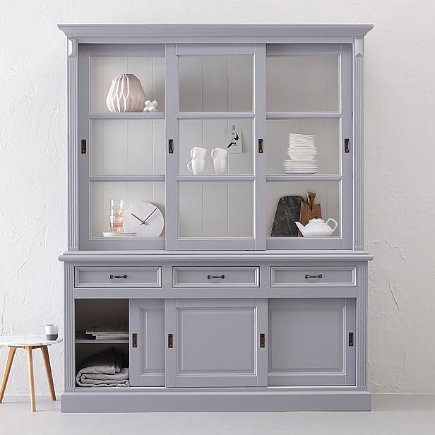 buffet vitrine ladenschrank vitrinenschrank wei grau kiefer. Black Bedroom Furniture Sets. Home Design Ideas
