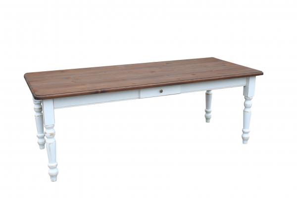 Landhaus Tisch Massivholz   Weiß Shabby Chic Eiche Dunkel