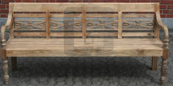 Gartenbank Vintage 190cm Teakholz ergraut - Teak Bank Sitzbank Outdoor