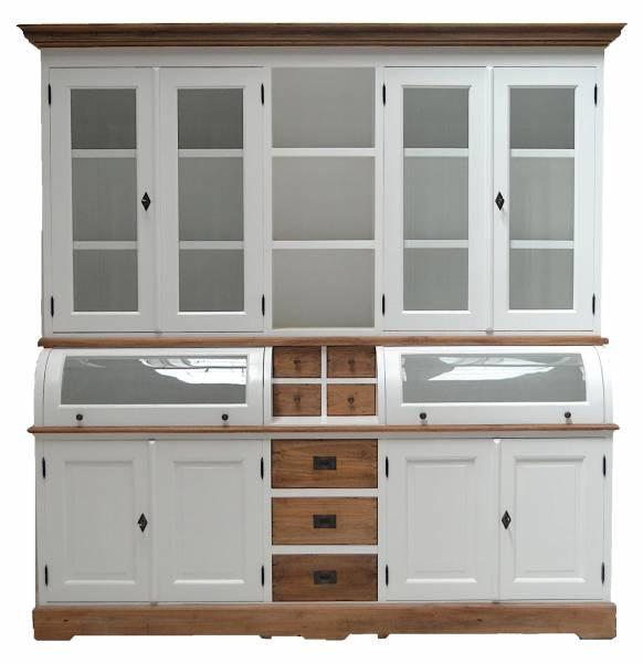 buffetschrank landhaus vintage teak 200 cm massivholz schrank teakholz wei. Black Bedroom Furniture Sets. Home Design Ideas