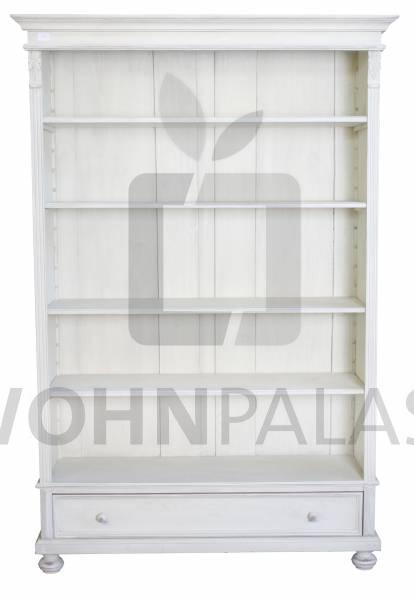 Bücherregal Tucholsky aus massivem Weichholz - Vintage weiß