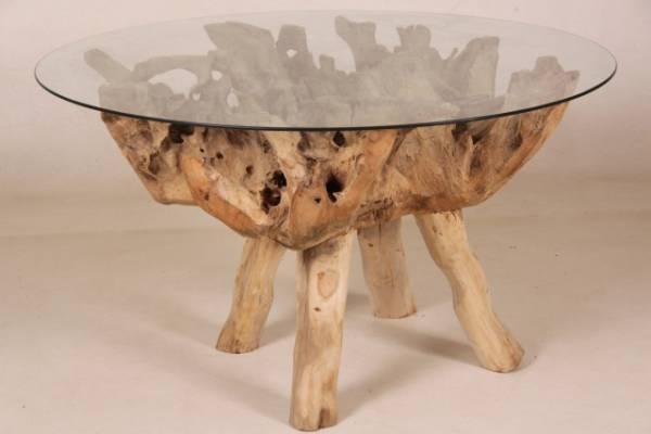 Tisch Wurzelholz Mit Glasplatte