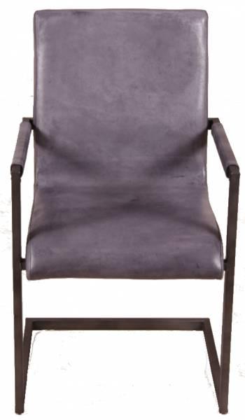 Freischwinger Stuhl - Blackpool - Echt Leder grau