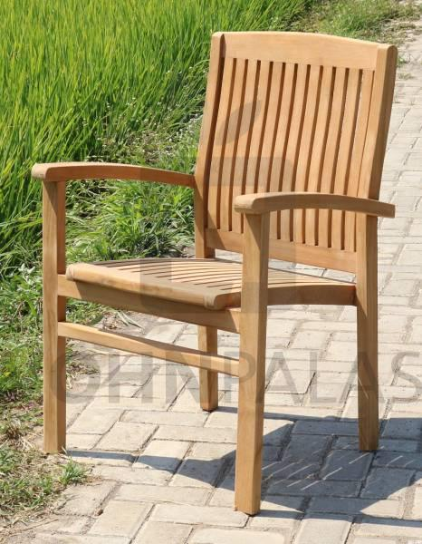 Gartenstuhl Stapel Teak 6er Set Teakholz Stuhl Outdoor (stapelbar)