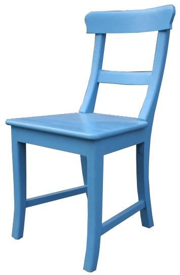 Teak Stuhl blau
