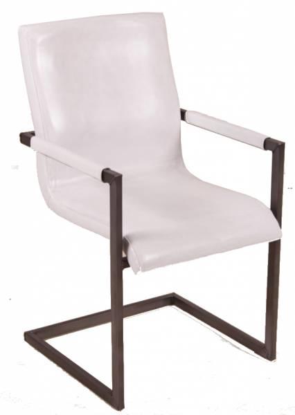 Freischwinger Stuhl - Blackpool - Echt Leder weiss