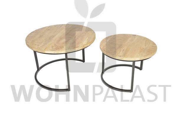 Couchtisch 2er Set Luxemburg aus recyceltem Holz/Eisen