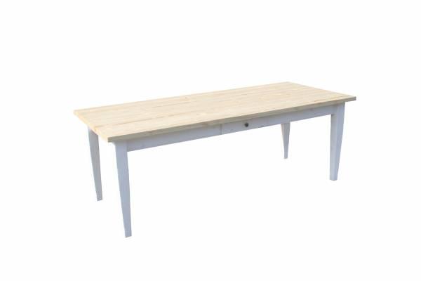 Landhaus Tisch Massivholz - geölt-weiß