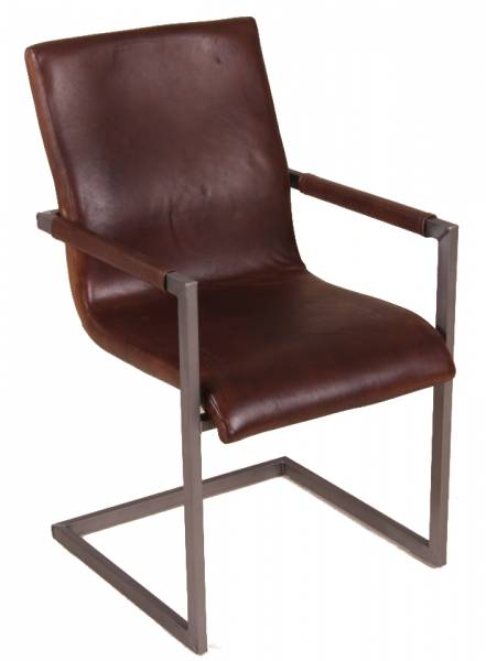 Freischwinger Stuhl - Blackpool - Echt Leder dunkelbraun