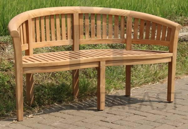 Gartenbank Halbrund 150cm Teakholz Gartenmöbel Sitzbank Teak Massivholz