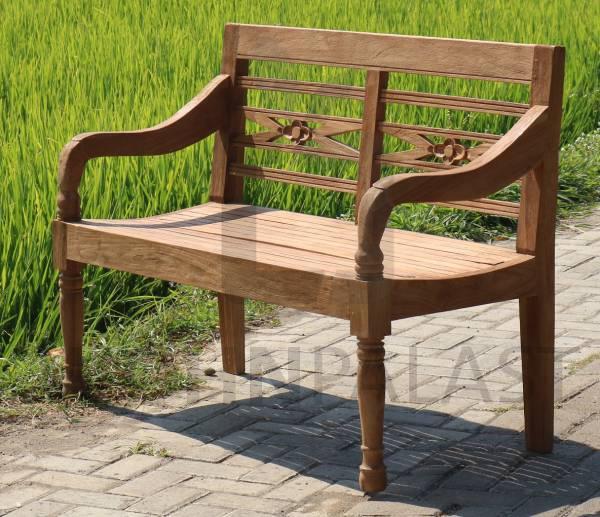Gartenbank Rustique 120 cm 2-Sitzer Teak Bank Outdoor Sitzbank