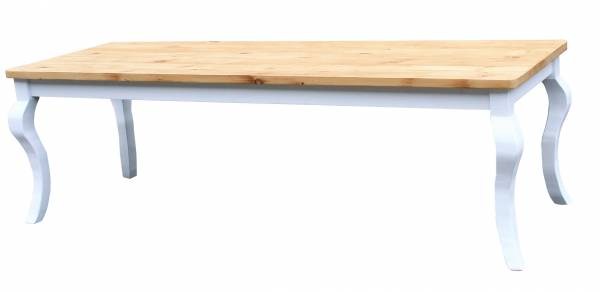 Gründerzeit Tisch Massivholz - natur weiß geschwungene Beine