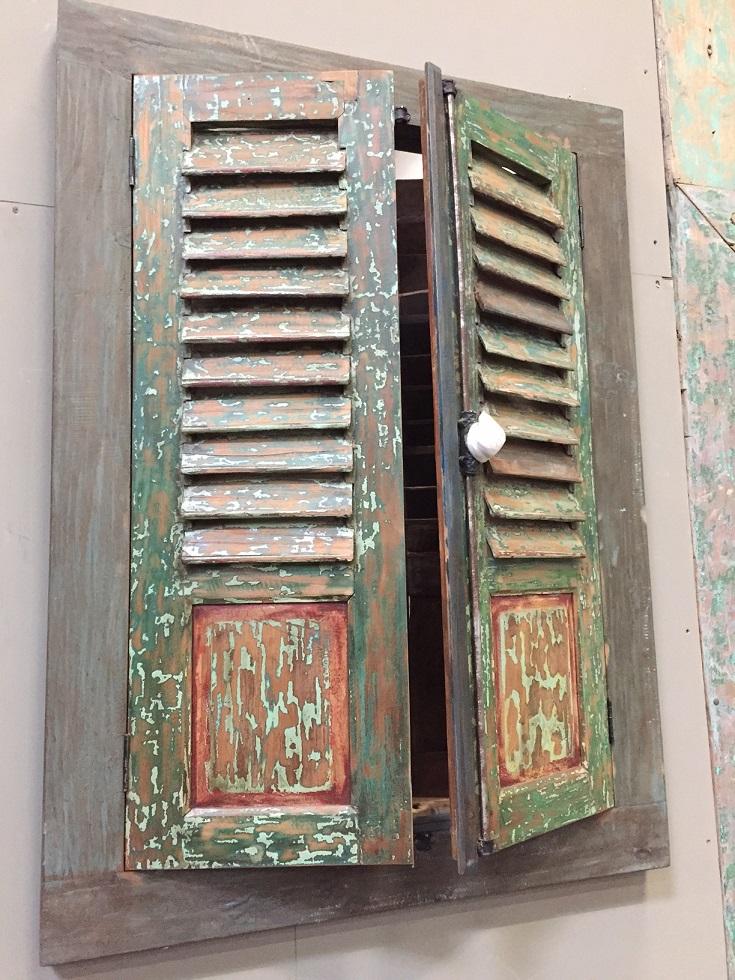 Teakholz fensterladen lamellen spiegel massiv vintage - Fensterladen vintage ...