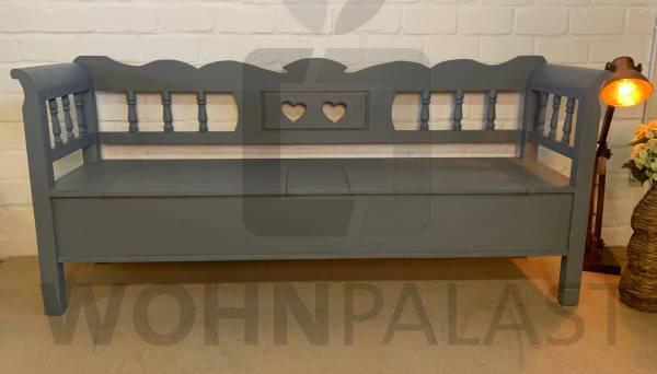 Truhen Bank Herzblatt grau aus Weichholz