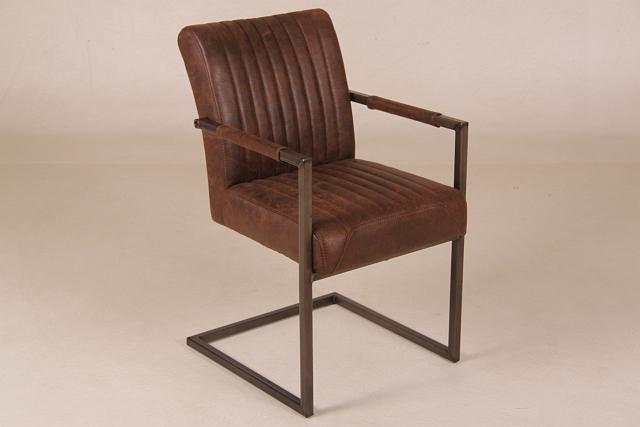 stuhl braun polster armlehne leder metall. Black Bedroom Furniture Sets. Home Design Ideas