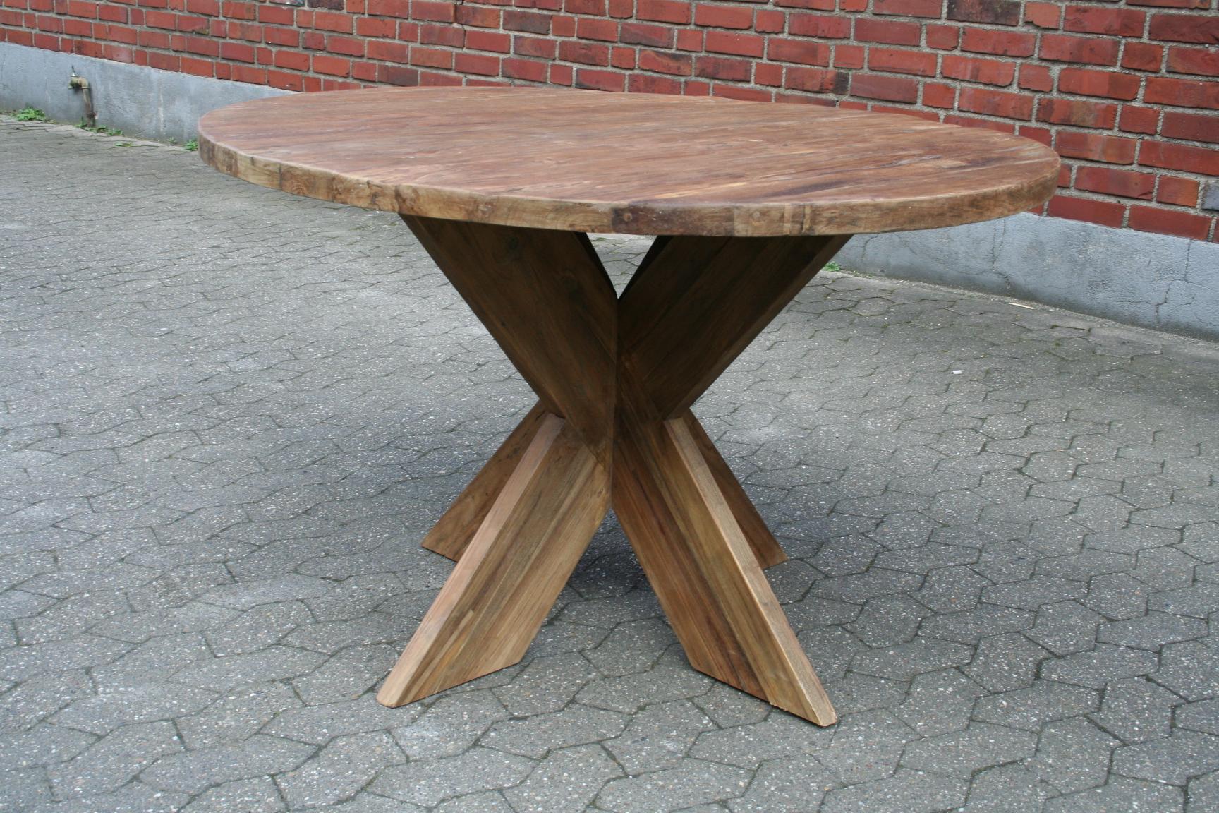 Esstisch dengkleh silang vintage altholz rund for Esstisch rund vintage