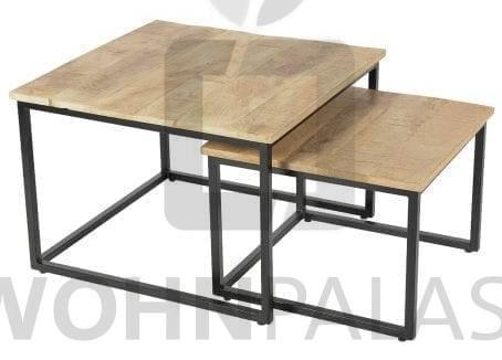 Couchtisch 2er Set Andorra aus recyceltem Holz/Eisen