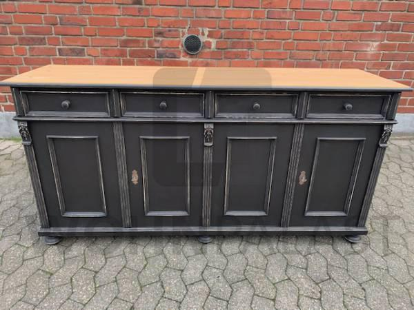 Vintage Anrichte schwarz 180cm - Weichholz massiv