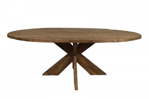 Tisch altholz teak oval for Tisch altholz