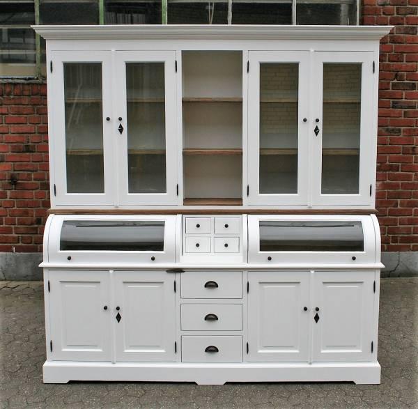 buffet schrank landhaus teak massivholz vitrinenschrank. Black Bedroom Furniture Sets. Home Design Ideas