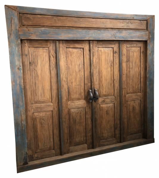 Antike Doppeltür im Vintage-Stil aus Teakholz