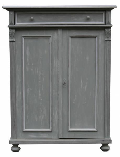 Weichholz Vertiko in shabby chic grau-weiß