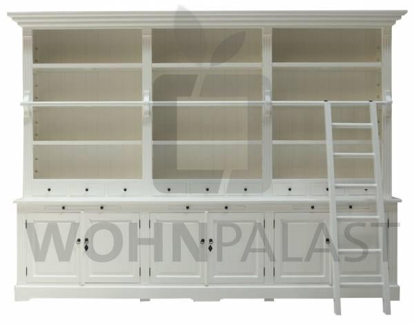 Bücherschrank Heine aus Teakholz 320 cm weiß