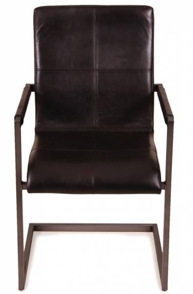 Freischwinger Stuhl Manchester - Echt Leder - schwarz