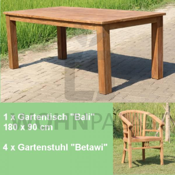 5-teiliges Teakholz Gartenmöbel Set Texel