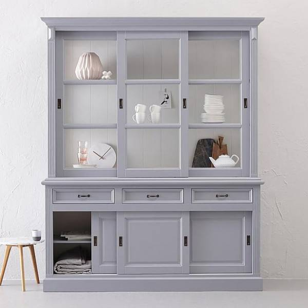 Ladenschrank Massivholz grau-weiß
