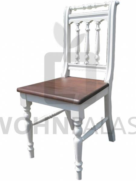 Stuhl Massivholz zweifarbig im Landhaus-Stil