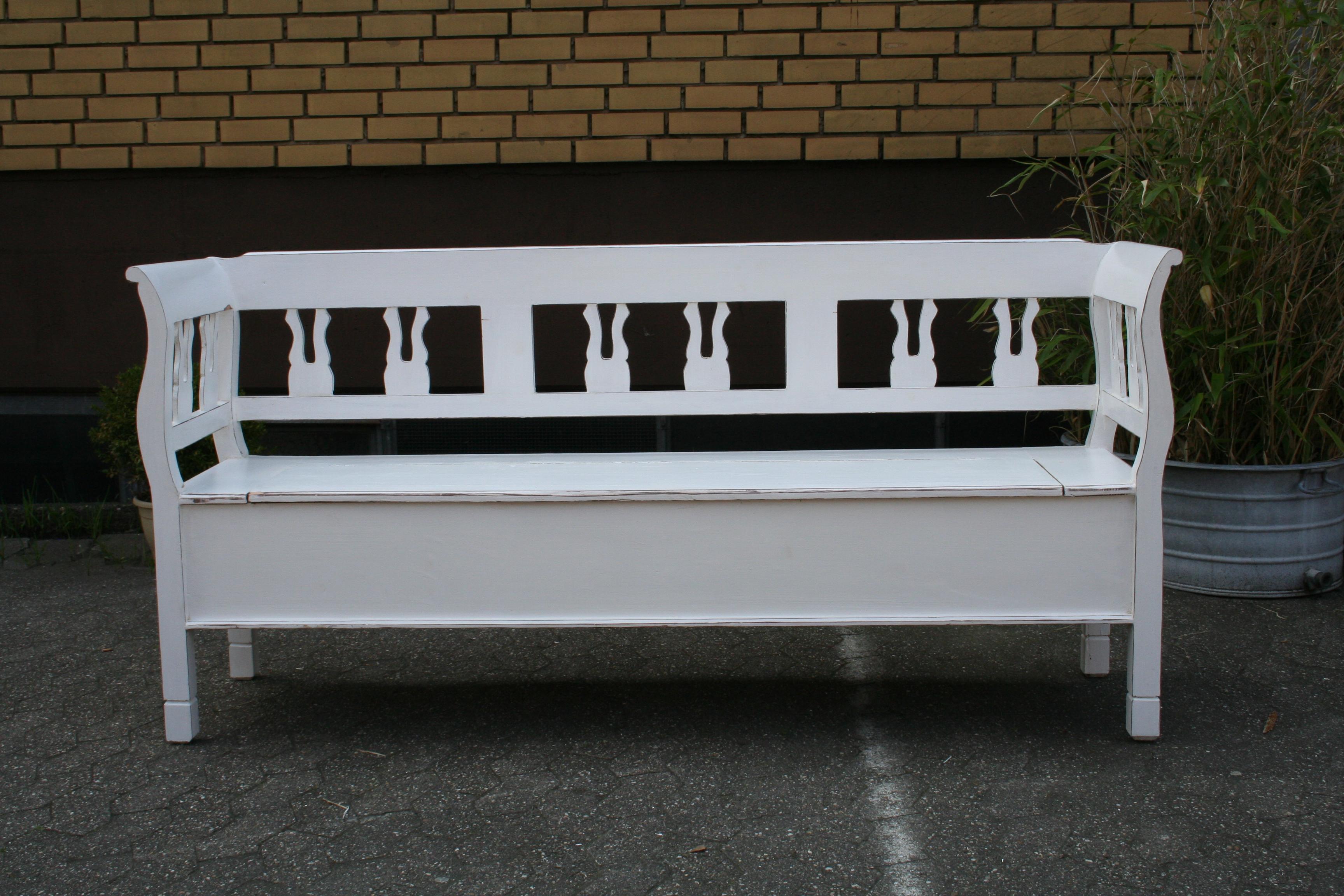 weichholz bank truhenbank sitzbank gartenbank shabby chic landhausm bel wei e bank. Black Bedroom Furniture Sets. Home Design Ideas