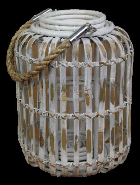 Laterne Kapsel- white wash - bambus