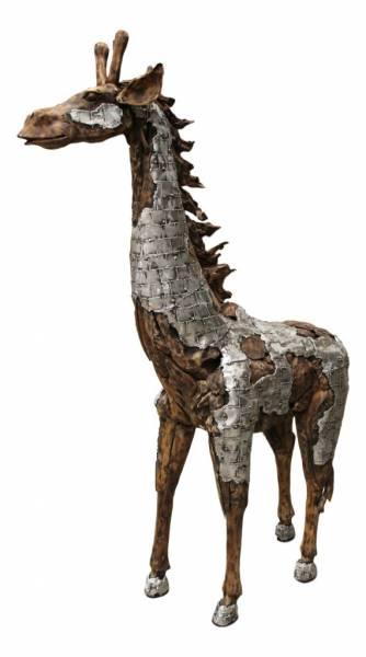 Teak Statue Giraffe Teak natur/Aluminium